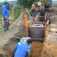Test emplacement of a trench filling